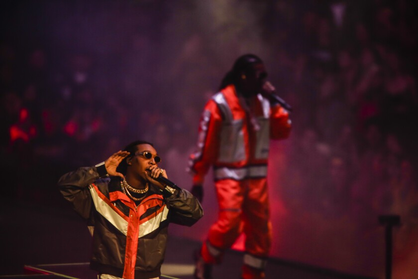LOS ANGELES, CA -- FRIDAY, OCTOBER 12, 2018-- Takeoff and Quavo from Migos perform in concert at the