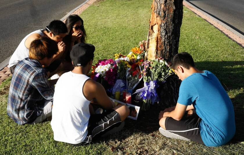 Cypress High School students from left; Ramond Bada, Josh Ong, Alex Jamili, Ian Song, and Austin Milam mourn the loss of their friend, Irvine High School senior Robin Cabrera, 17, who was one of five teens killed in a fiery single-vehicle crash with a tree on a downhill stretch of Jamboree Road near Island Lagoon Drive on Memorial Day in Newport Beach.