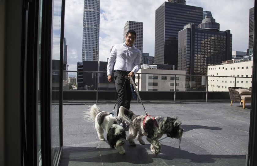 Patrick Fuentes of resident relations brings in Samy and Max after a stroll on the seventh floor patio outside the Sky Lounge at the pet-friendly Eighth & Grand apartments.