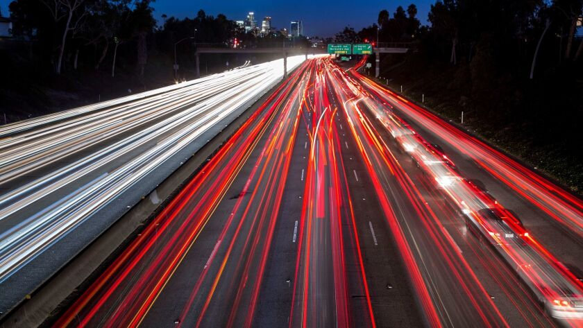 LOS ANGELES - CA - NOVEMBER 23, 2015 - Interstate freeway 10 early evening traffic seen from the 6th