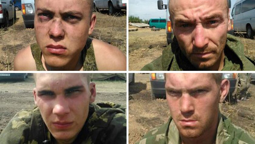 Photos purportedly to show Russian paratroopers captured in eastern Ukraine. A Russian Defense Ministry official reportedly said the soldiers had crossed into Ukraine by mistake.