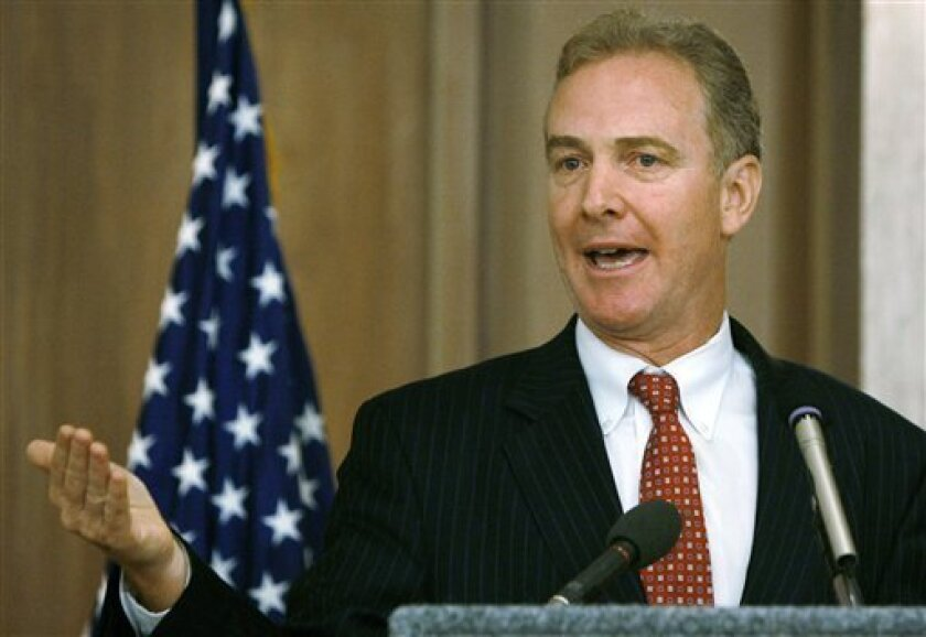 FILE - In this Aug. 28, 2009 file photo, Rep. Chris Van Hollen, D-Md., speaks in Silver Spring, Md. Their control of the House in peril, Democrats are playing defense all across the country. (AP Photo/Jacquelyn Martin, File)