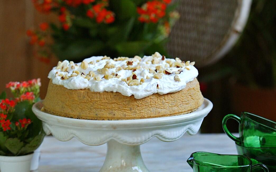 Hazelnut torte with bourbon-flavored whipped cream