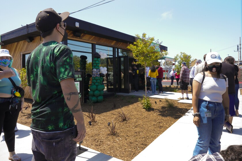 A line formed outside the Grasshopper Dispensary during the official grand opening of Chula Vista's first cannabis business.
