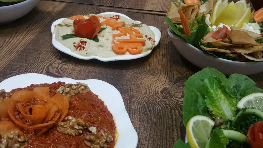 Some of the meze dishes offered at Atayeb in Aleppo.