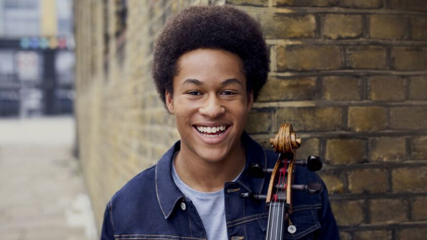 British cellist Sheku Kanneh-Mason performs in recital at Zipper Hall in downtown L.A. on Tuesday.