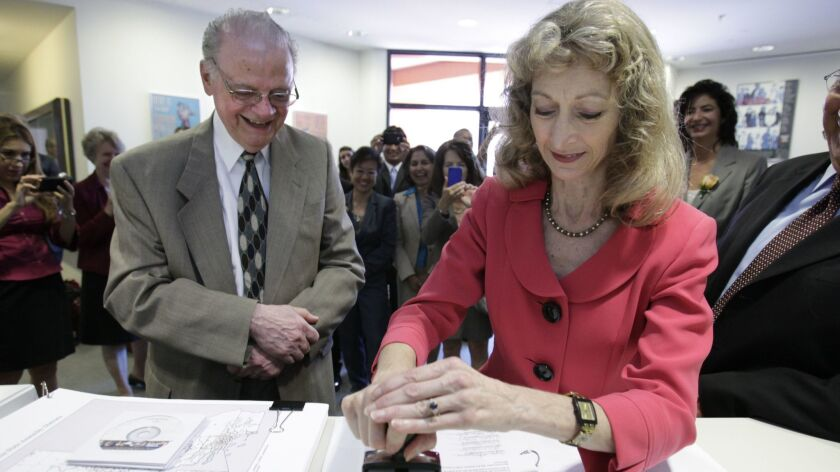 Vincent Barabba, a member of the California Citizens Redistricting Commission, watches as Secretary of State Debra Bowen certifies legislative and congressional maps on Aug. 15, 2011. A new 14–member panel will be selected next year.