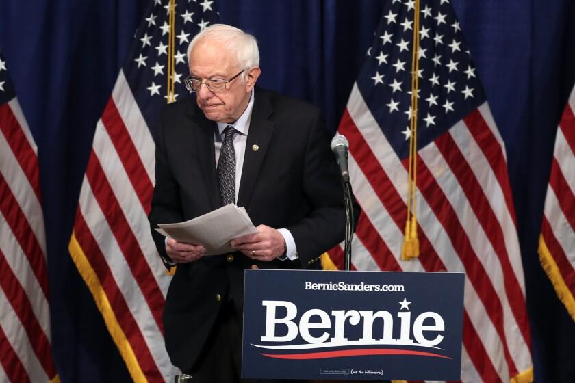 Sen. Bernie Sanders of Vermont after speaking to reporters on Wednesday in Burlington, Vt.
