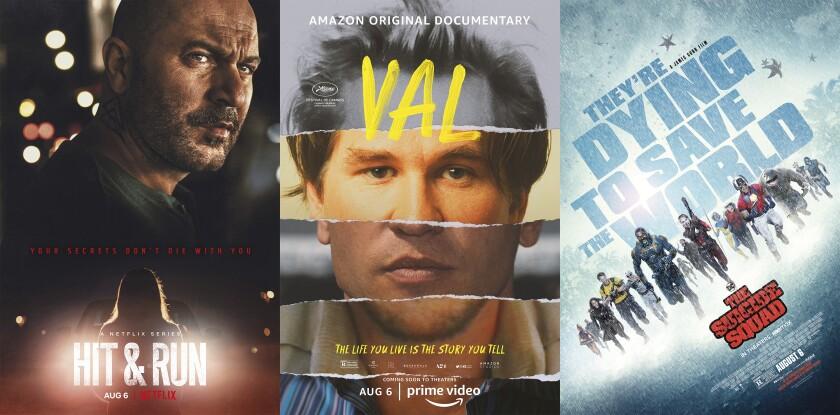 """Arte promocional de la serie de Netflix """"Hit & Run"""", el documental """"Val"""" y la película """"The Suicide Squad"""","""