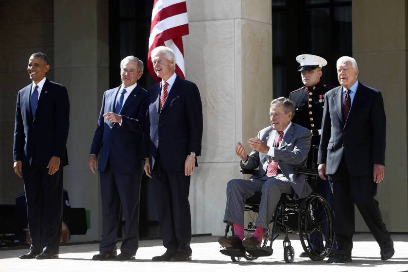 President Obama is joined by, from left, former Presidents George W. Bush, Bill Clinton, George H.W. Bush and Jimmy Carter at the dedication of the George W. Bush presidential library in Dallas.