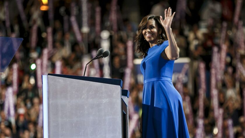 First Lady Michelle Obama addresses the Democratic National Convention in Philadelphia.