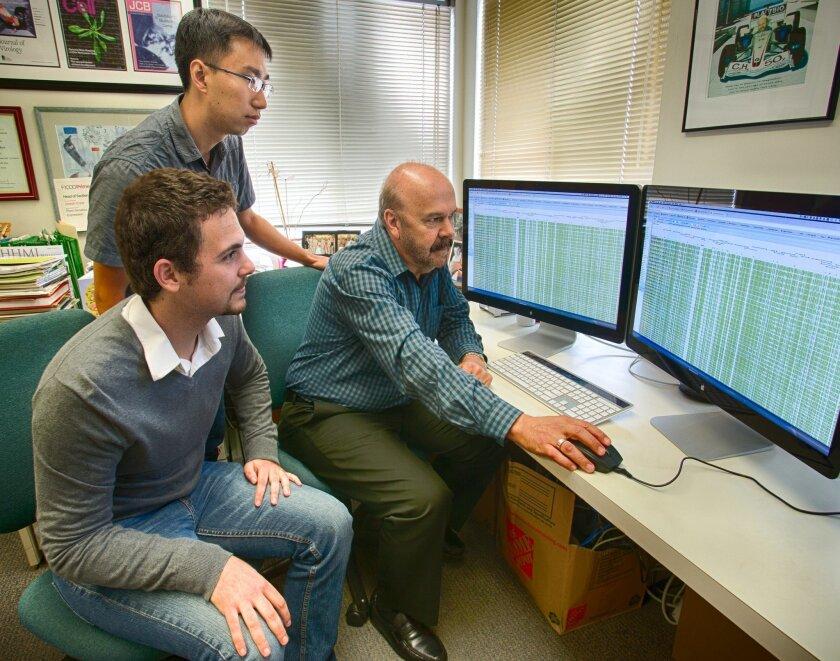 Salk researchers Matthew Schultz, Yupeng He and Joseph Ecker, authors of a study on the human epigenome/