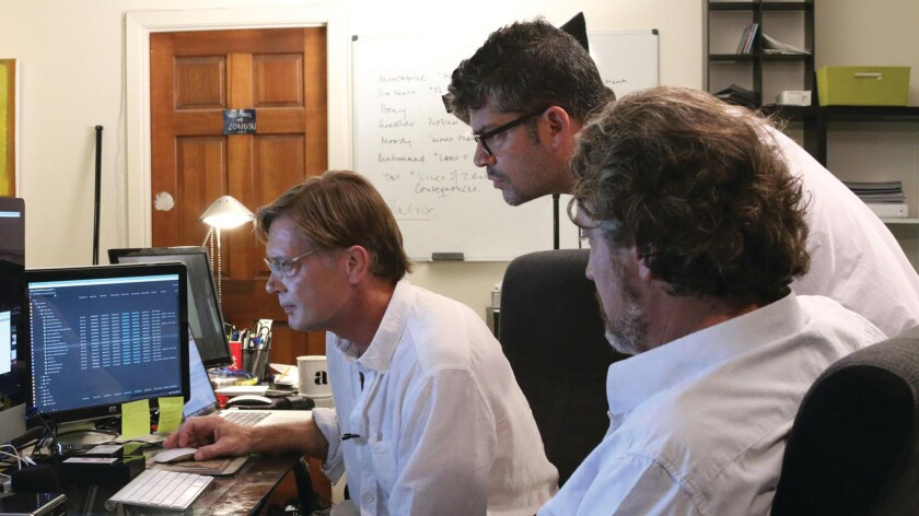"An image from the movie ""Vaxxed: From Cover-up to Catastrophe"" with director Andrew Wakefield, left, editor Brian Burrows, center, and producer Del Bigtree."