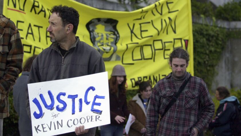 Anti-death-penalty advocates demonstrate in support of convicted killer Kevin Cooper in San Francisco in 2004.