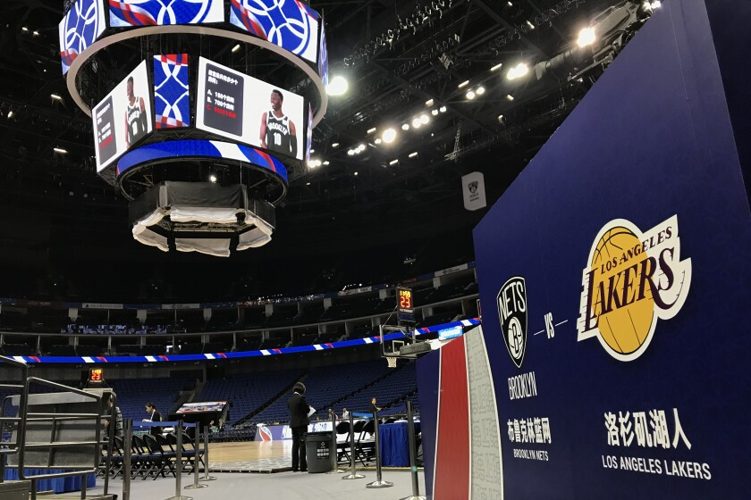 Mercedes-Benz Arena ahead of Thursday's exhibition game between the Brooklyn Nets and Lakers in Shanghai.