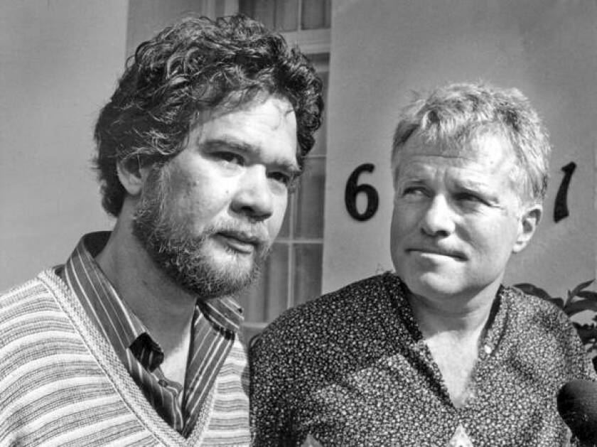 Richard Adams, left, and his partner, Anthony Sullivan, are shown in 1984. They were seeking to prevent Sullivan's deportation to Australia.