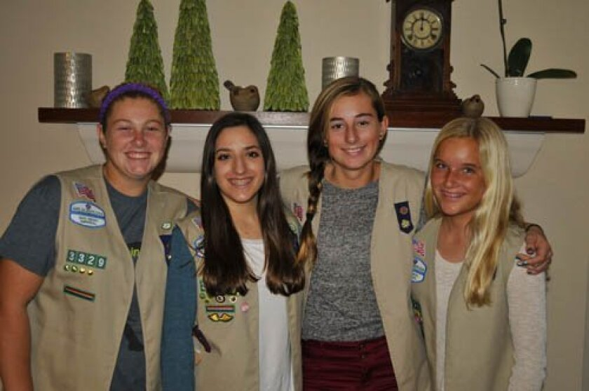Josie Ballard, Katie Couris, Kylie Malcolm and Madeline Perreault are eighth-graders at Muirlands Middle School and members of Cadette Girl Scout Troop 3329. Courtesy