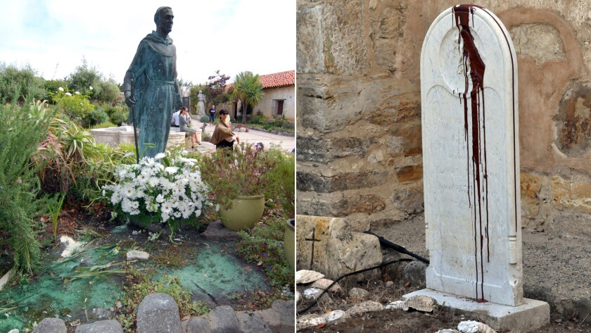 "Vandals splashed paint on statues at Carmel Mission and scrawled ""Saint of Genocide"" on a headstone. The incident is being investigated as a hate crime, authorities say."