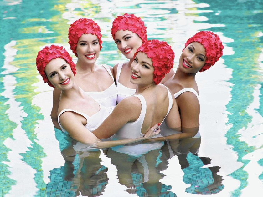 Aqualillies pose in 2013 for tarte cosmetics campaign at the Annenberg Community Beach House pool in Santa Monica.