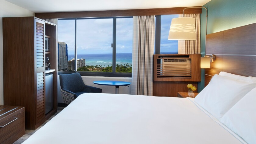 From the upper floors at Honolulu's new Holiday Inn Express, the Pacific Ocean can be seen in the di
