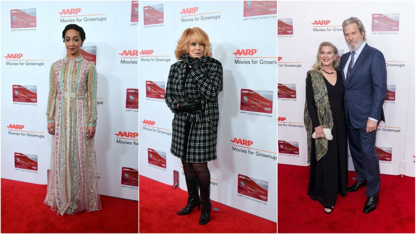 From left, Ruth Negga, Ann-Margret, and Susan Geston and Jeff Bridges arrive at the 16th Annual Movies for Grownups Awards at the Beverly Wilshire Hotel on Feb. 6.