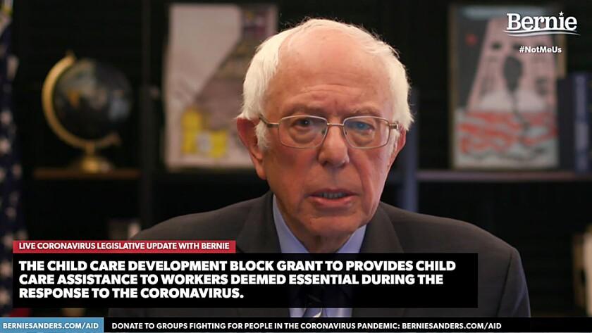 Presidential Candidate Bernie Sanders Holds Livestream Discussion On Coronavirus Pandemic