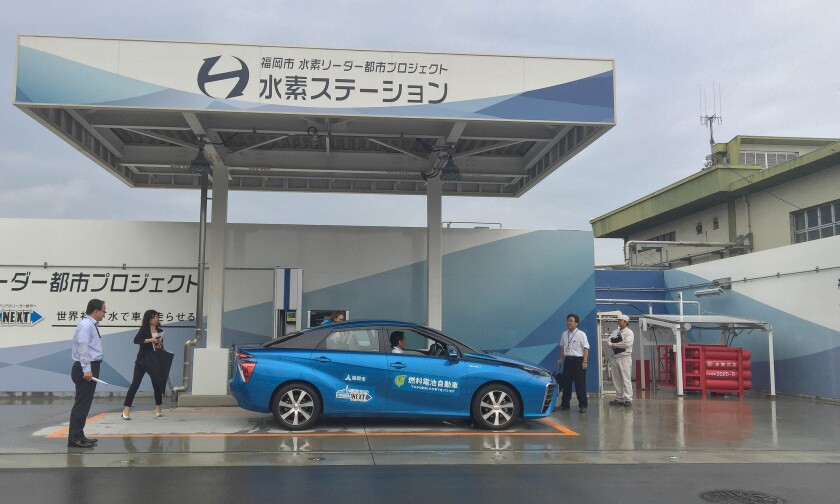 A filling station in Fukuoka, Japan, sources its hydrogen from biogas at the city's central sewage plant.