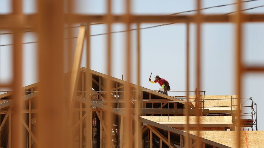 New homes under construction in Victorville.