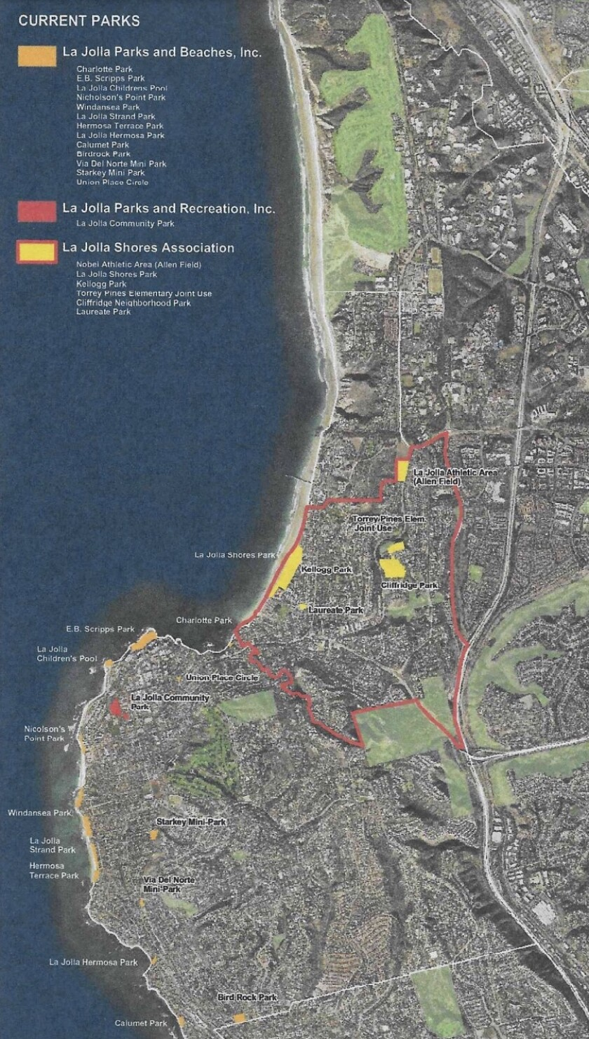 This 2011 map, included with the 2016 La Jolla Parks & Beaches bylaws, led to confusion about the group's purview.