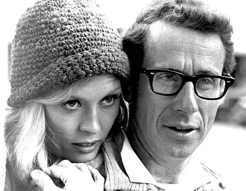 "Faye Dunaway, who played Bonnie Parker, and director Arthur Penn on the set of the movie ""Bonnie and Clyde."""