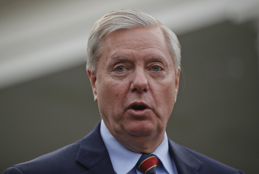 Opinion: Lindsey Graham can't stop spinning and panting and disgracing himself — just like Trump