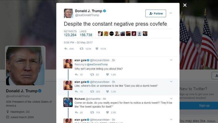 """This screen grab shows a tweet from President Donald Trump which has social media trying to find a meaning in the mysterious term """"covfefe."""""""