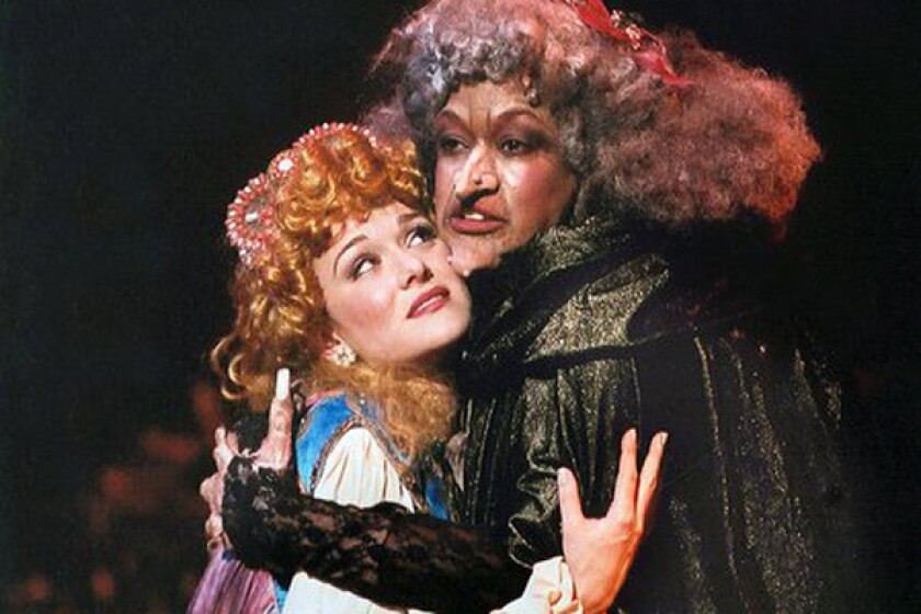 """Melissa Hoff and Yvette Cason in a """"Into the Woods"""" presented by Civic Light Opera of South Bay Cities at the Redondo Beach Performing Arts Center. Disney has begun production of a big-screen adaptation of the Stephen Sondheim/James Lapine musical in England."""