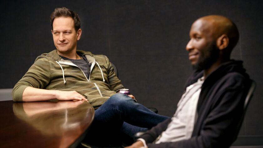 "Josh Charles, left, and Phillip James Brannon in Annie Baker's new play, ""The Antipodes."""