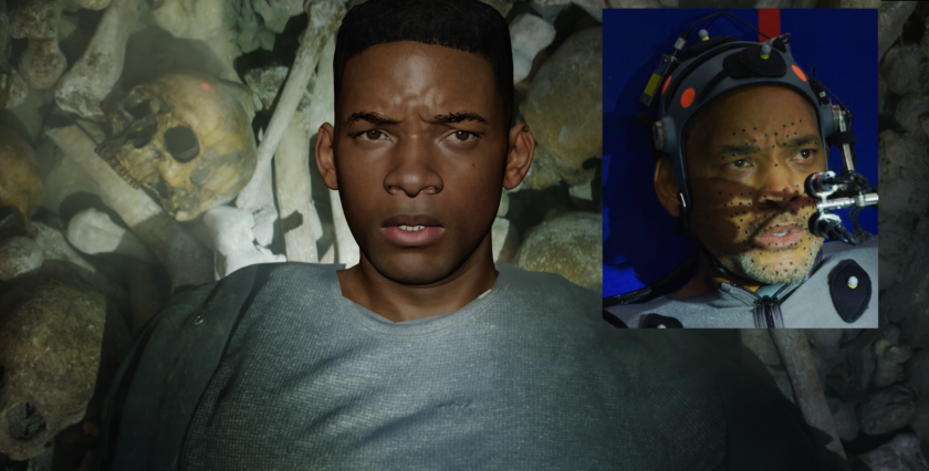 "Comparison of Will Smith in motion-capture gear (inset) to the digital version in ""Gemini Man."""