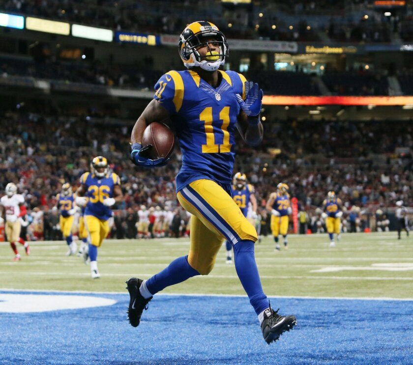 St. Louis Rams wide receiver Tavon Austin reacts as he scores a touchdown during an NFL football game against the San Francisco 49ers, Sunday, Nov. 1, 2015, in St. Louis. (Chris Lee/St. Louis Post-Dispatch via AP)  EDWARDSVILLE INTELLIGENCER OUT; THE ALTON TELEGRAPH OUT; MANDATORY CREDIT