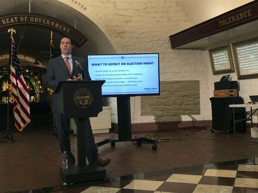 Ohio Secretary of State Frank LaRose discusses election preparations at the Ohio Statehouse in Columbus, Ohio, on Sept. 8.