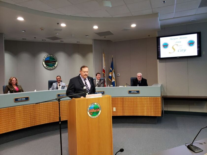 Santee Mayor John Minto delivered an upbeat State of the City address last month. Behind him are Santee City Councilmembers Laura Koval, Rob McNelis, Stephen Houlahan and Ronn Hall.