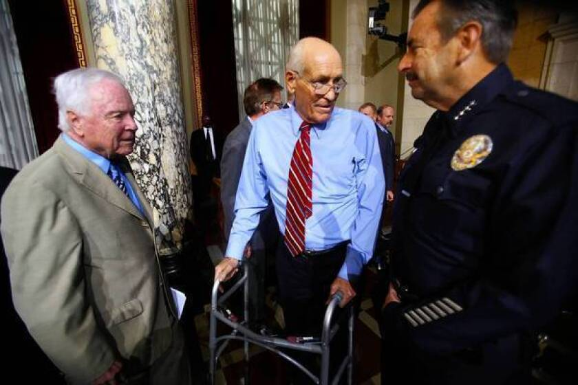 Former Mayor Richard Riordan, left, with Councilman Bill Rosendahl, center, and Police Chief Charlie Beck, promises to keep pushing for major changes in city pension programs.