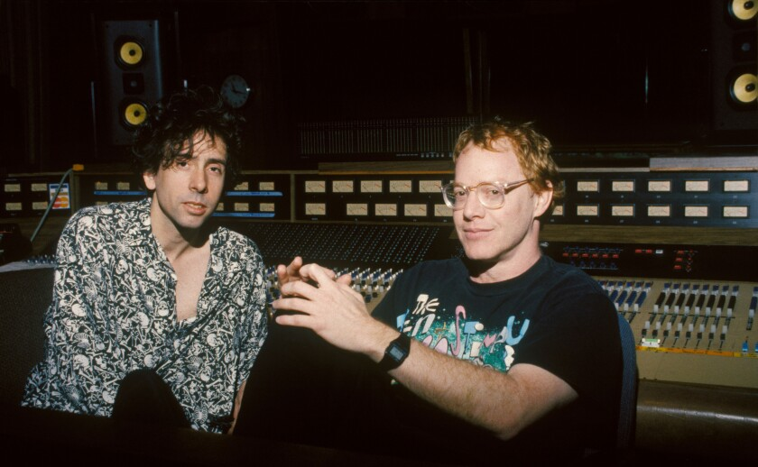 """Tim Burton, left, and Danny Elfman during the making of """"The Nightmare Before Christmas."""""""