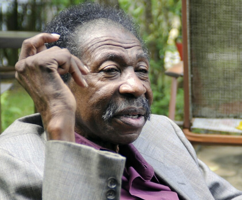 """In this Thursday, May 3, 2018 photo, Bruce Carver Boynton speaks at his home in Selma, Ala. Boynton, a civil rights pioneer from Alabama who inspired the landmark """"Freedom Rides"""" of 1961, has died. He was 83. Former Alabama state Sen. Hank Sanders, a friend of Boynton's, confirmed his passing Friday, Nov. 20, 2020. (AP Photo/Jay Reeves, file)"""