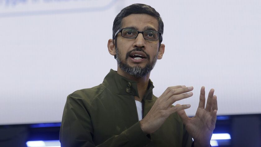 Google CEO Sundar Pichai speaks at the Google I/O conference in Mountain View, Calif., Tuesday, May