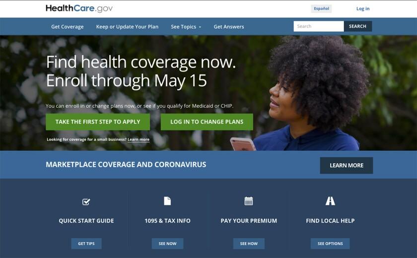 ARCHIVO - En esta foto del 15 de febrero del 2021 se ve la página principal del portal HealthCare.gov.