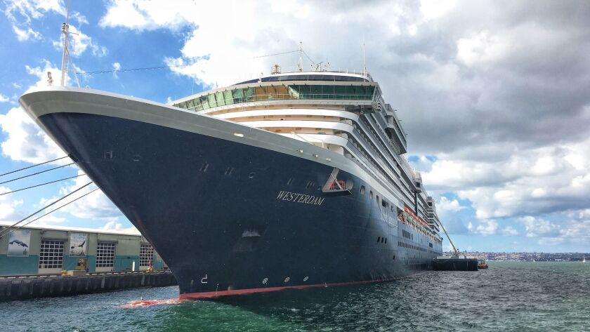 Holland America's 1,964-passenger cruise ship Westerdam, docked in San Diego.