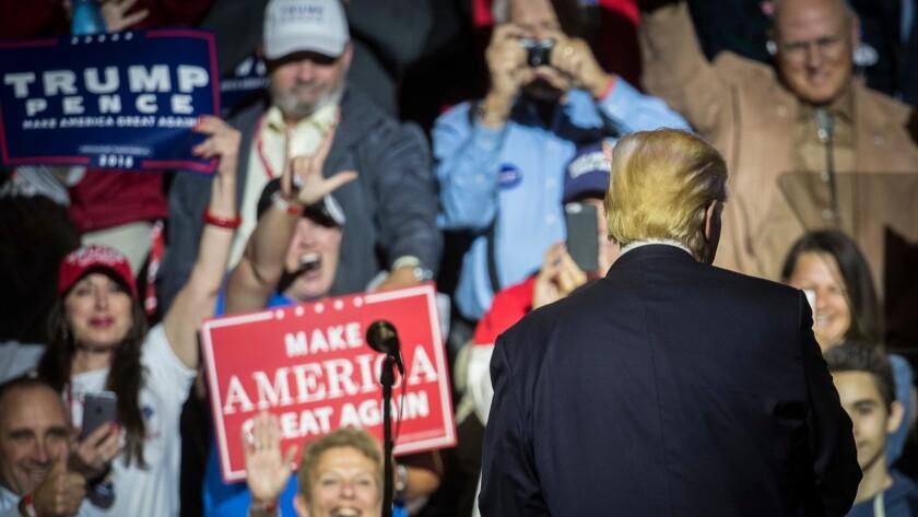 Donald Trump speaks at a campaign rally Thursday in Cincinnati.