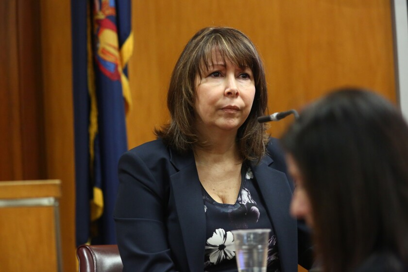 Dr. Lorraine Ronca on the witness stand testifying for the defense in the case of Marianne Benjamin-Williams in State Supreme Court on December 3, 2018 in New York. Benjamin-Williams is accused of stuffing a wipe down the throat of Blutreich's toddler in May of 2016.