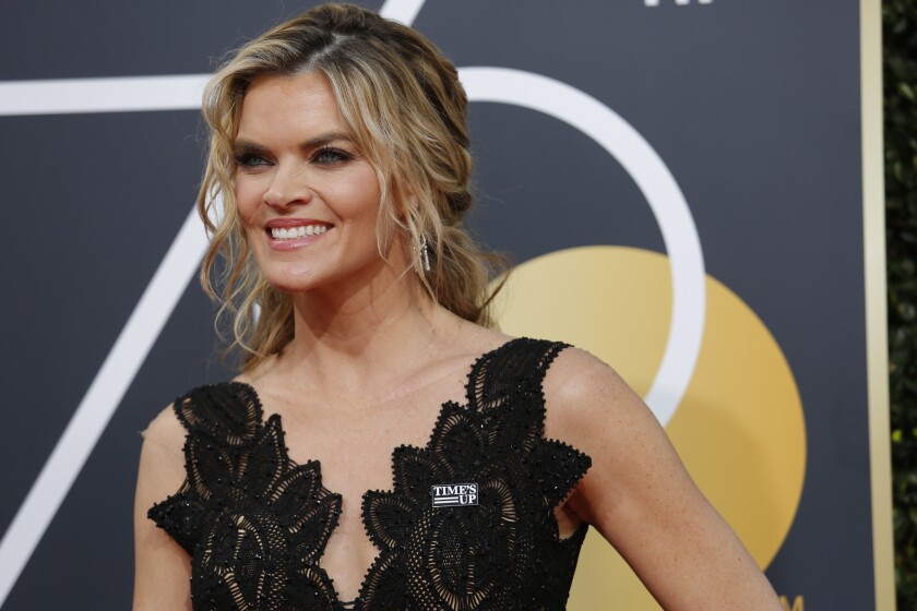 BEVERLY HILLS, CA - January 7, 2018 Missi Pyle wearing a #TIMESUP pin and arriving at the 75th Gol