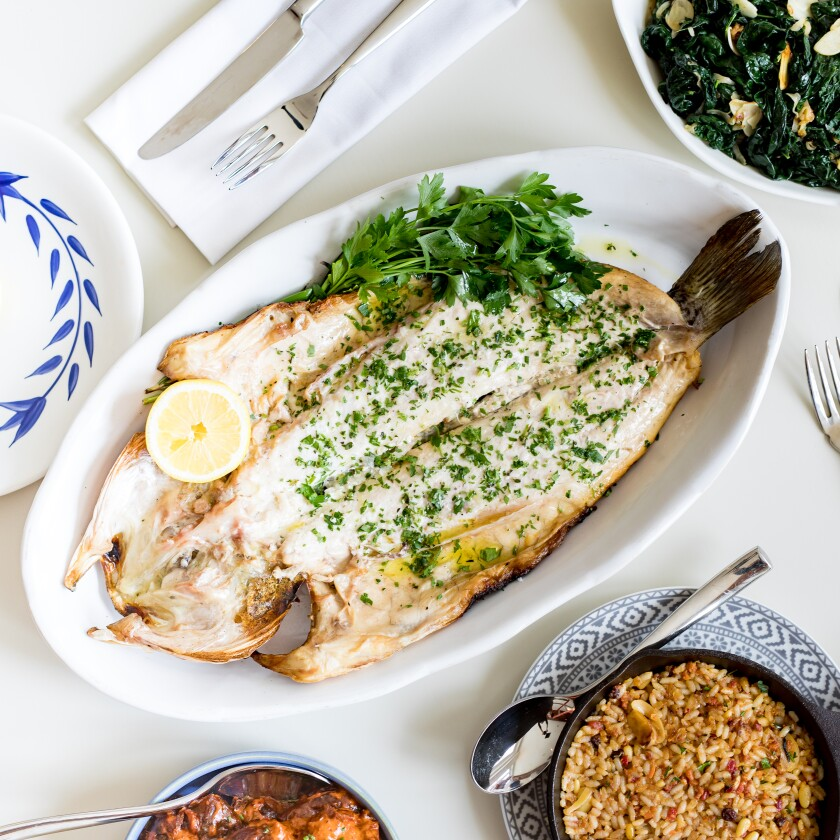 Super fresh, whole roasted fish at Serea is a delicious, if pricey, choice.