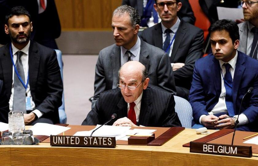 The US special representative for Venezuela, Elliott Abrams, speaks during a UN Security Council meeting on the situation in the South American nation in New York on Tuesday, Feb. 26. EFE-EPA/ Justin Lane