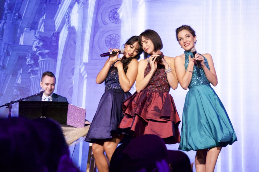 Courtney Reed, left, Susan Egan and Laura Osnes with Benjamin Rauhala on piano.